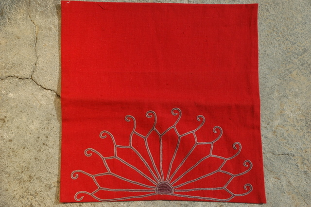 Gundara - Embroidered red cotton cushion cover by Zardozi