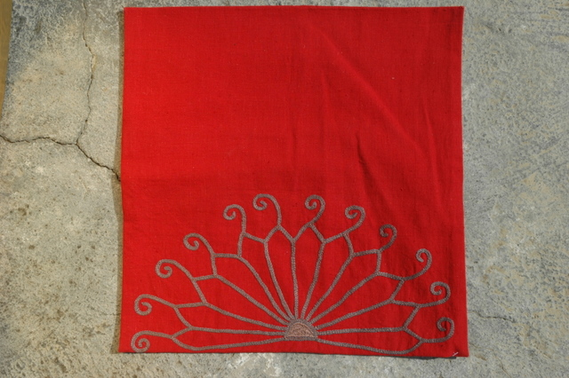 Gundara - Embroidered cushion cover by Zardozi red cotton - handmade