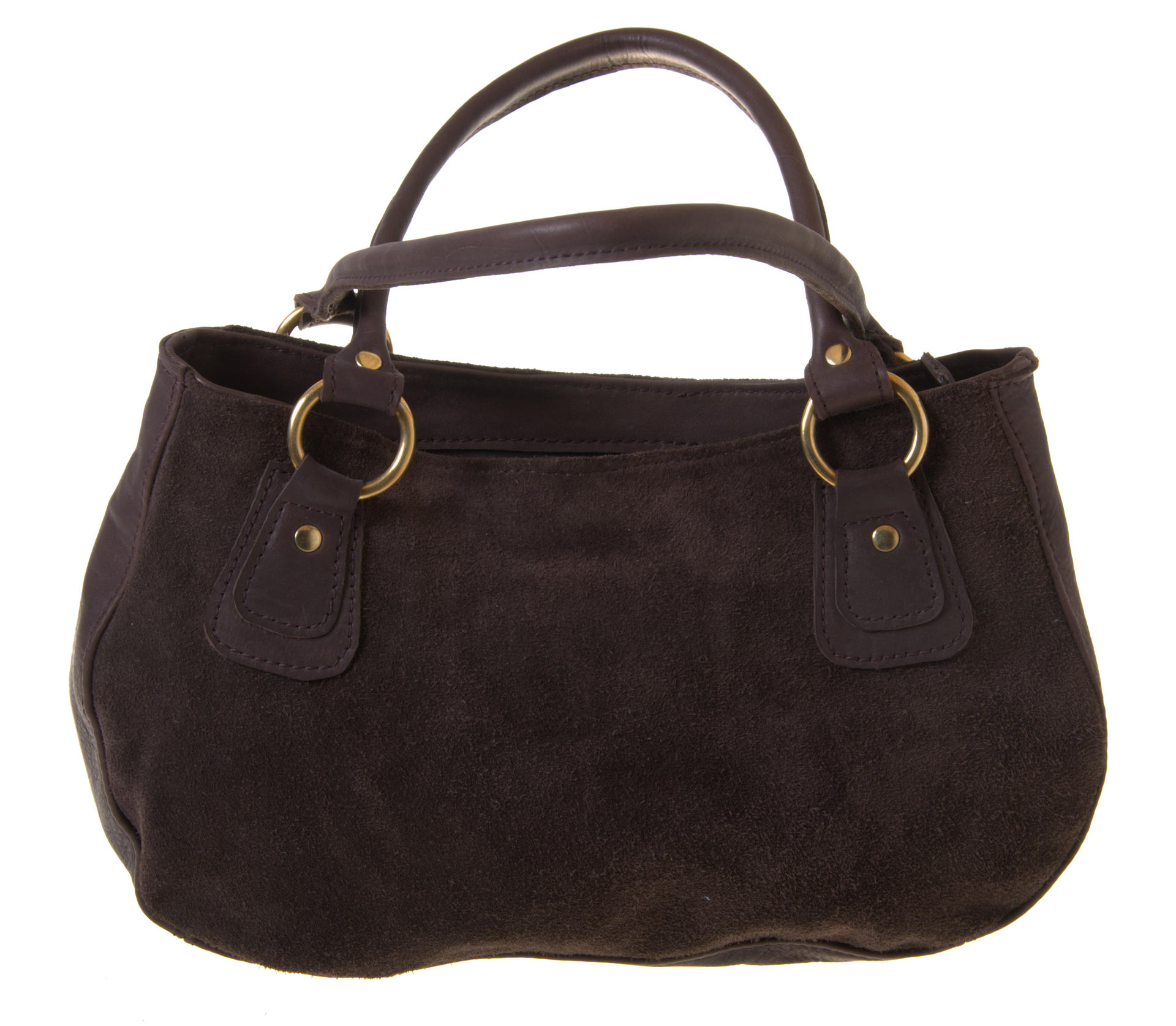 fida zipper closed bag in chocolate leather and suede