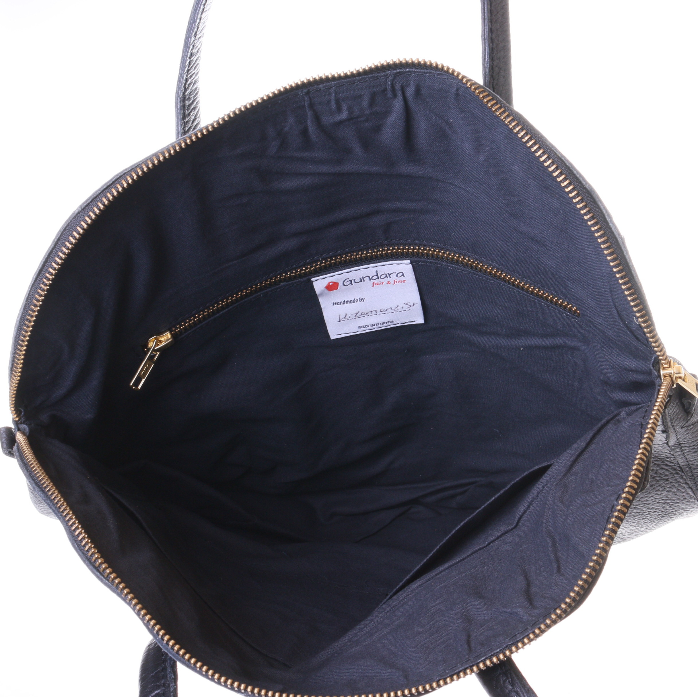 Ayana black leather bag with black lining