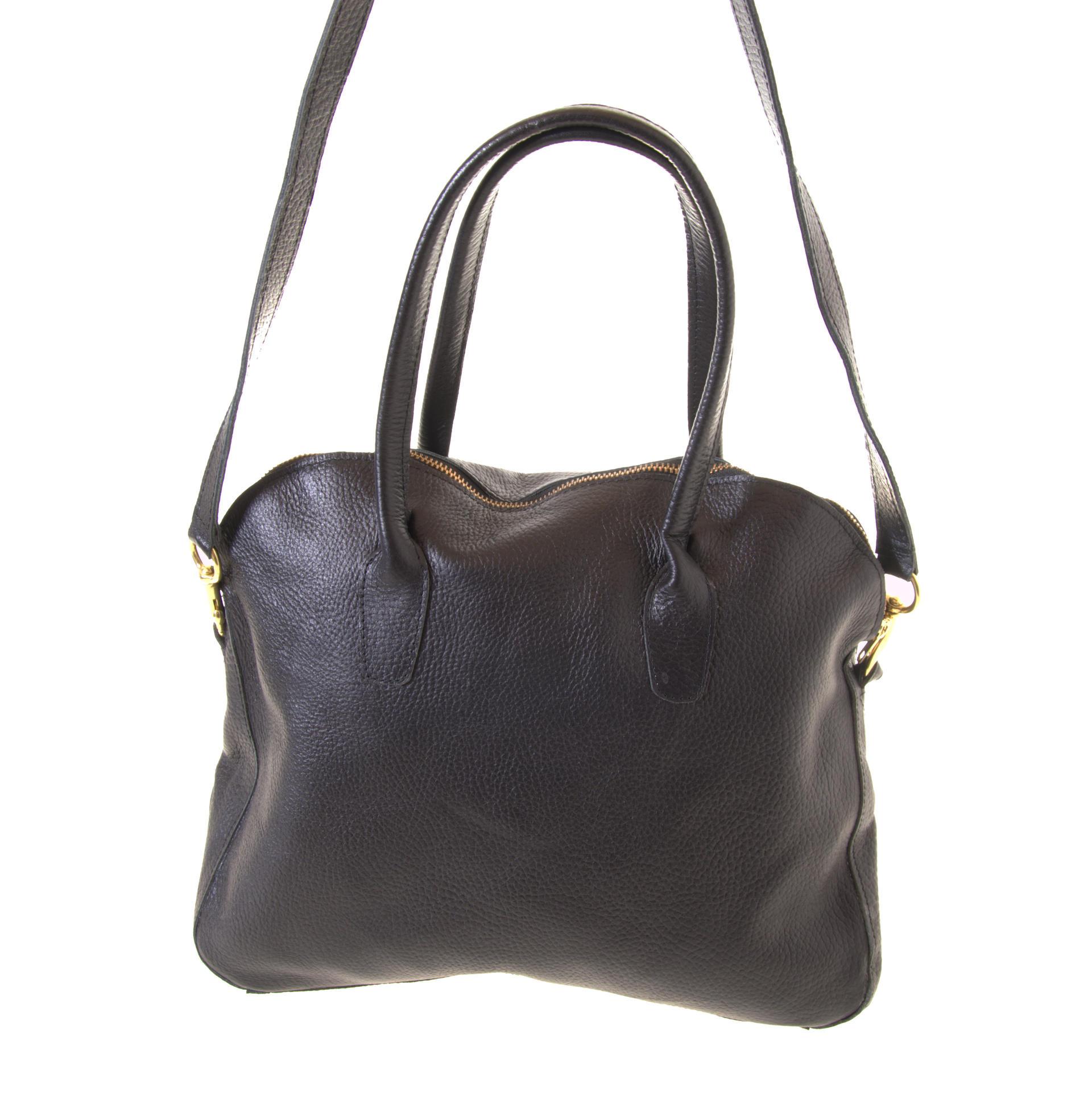 Black handbag with a strap