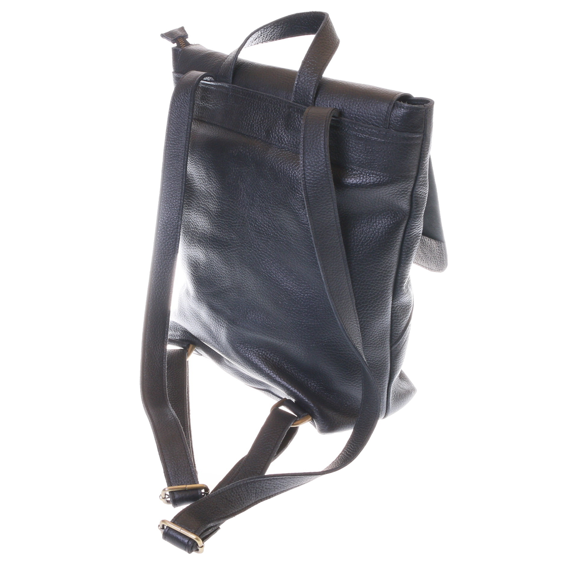 Gundara - fair black cow leather backpack - fairtrade and handmade from Ethiopia