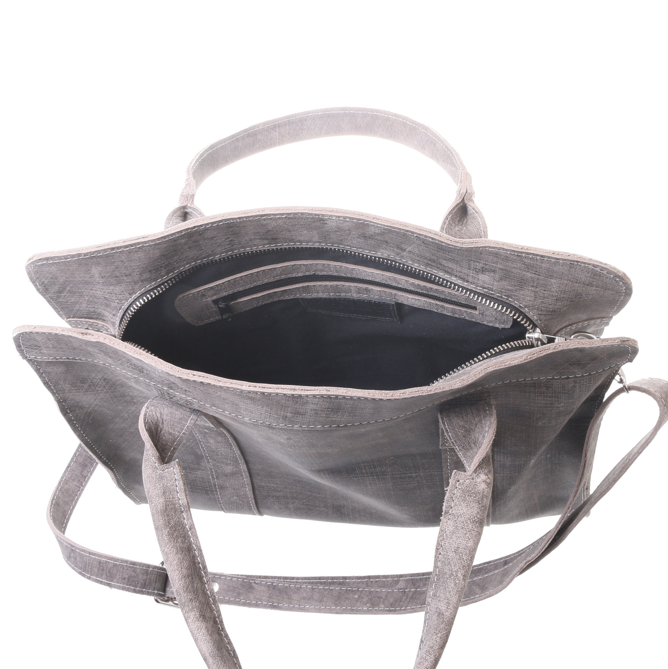 Gundara - fair genuine leather handbag - grey-scratch - handmade in Ethiopia