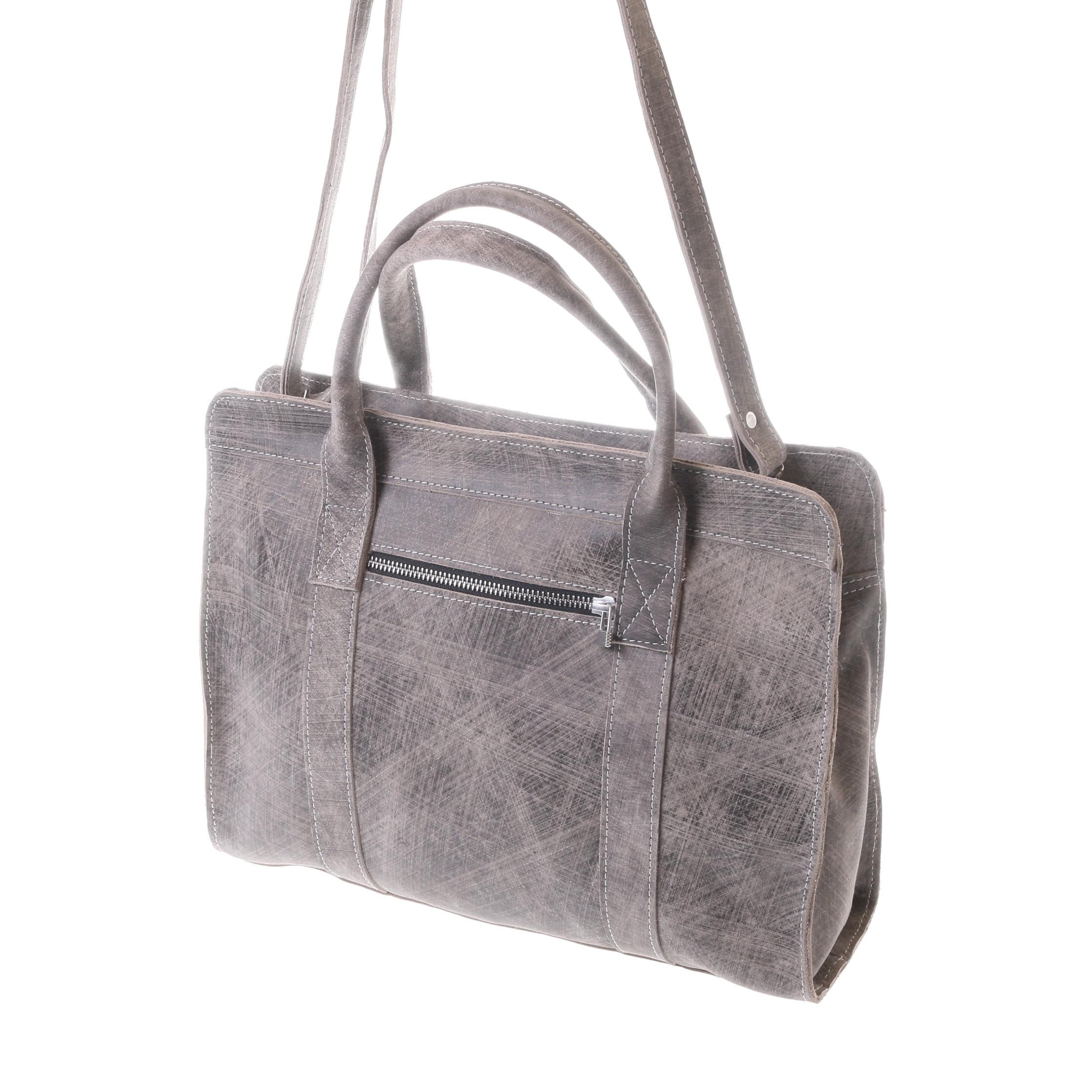 Gundara - fair grey-scratch leather bag from Ethiopia - fairchain and handmade