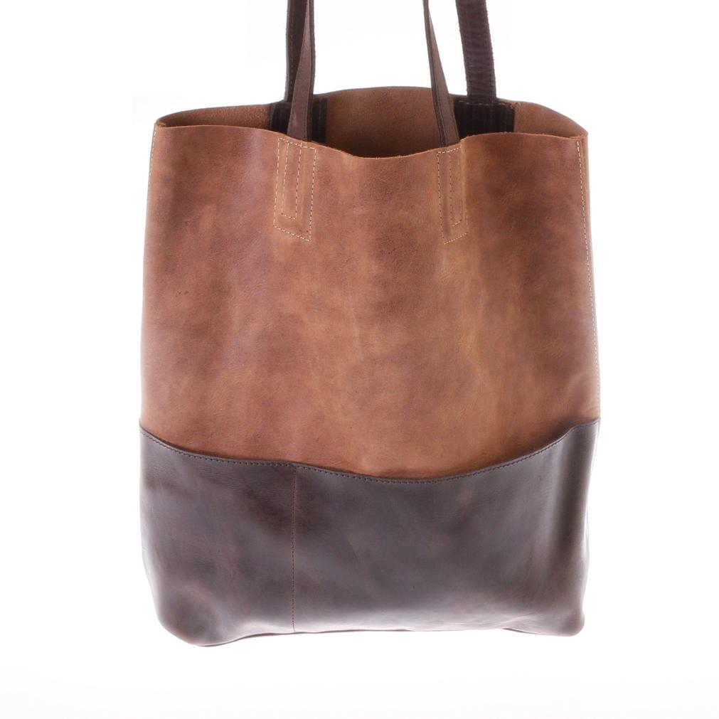 Gundara - tote - brown cow leather - handmade in Ethiopia