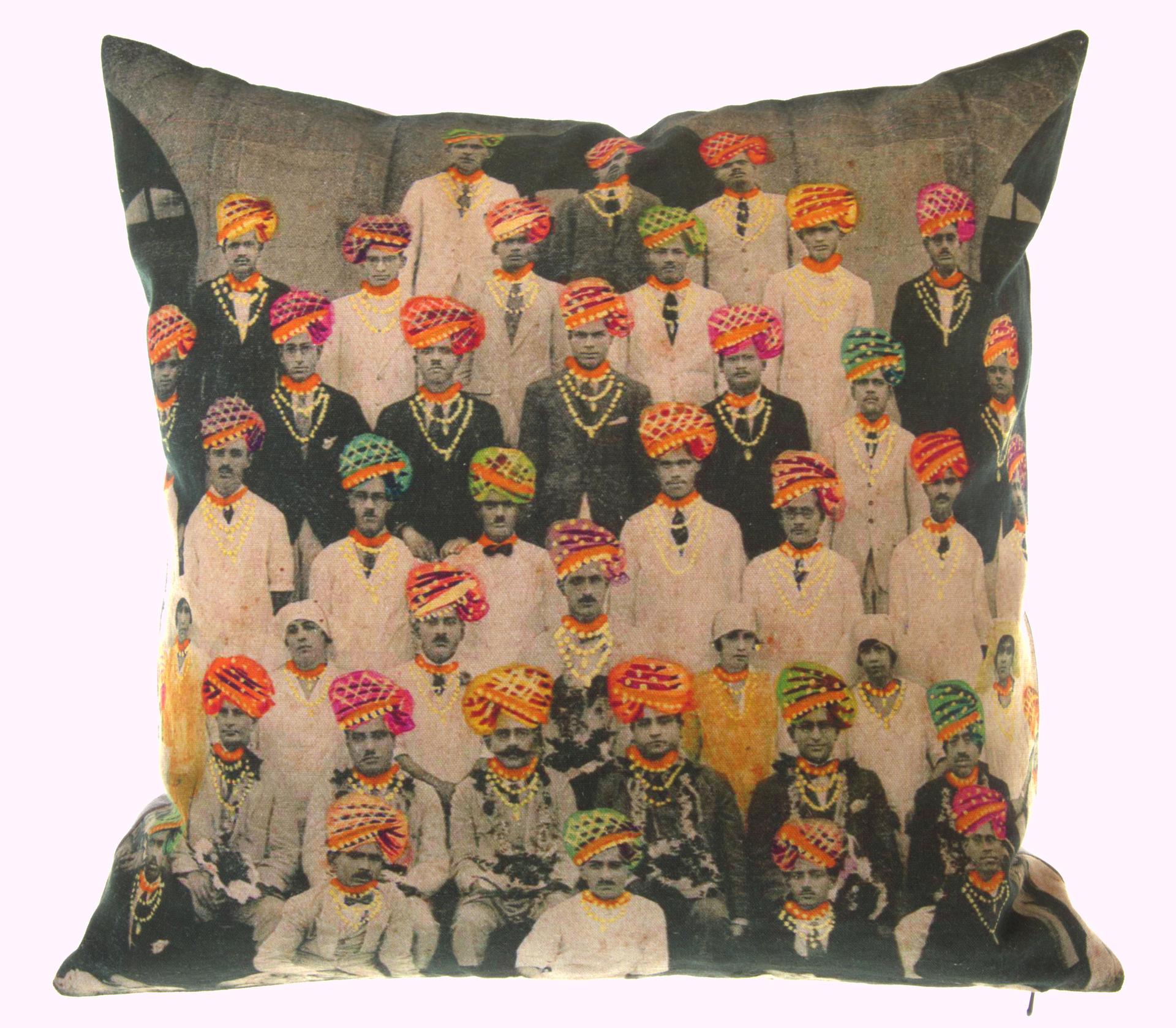 Neeru Kumar cushion cover with colourful turbans