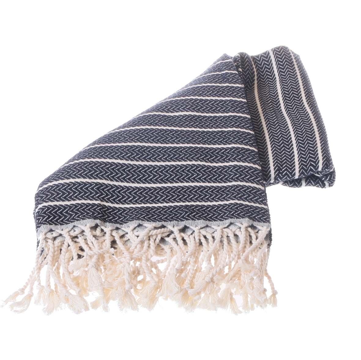towel with black and white zigzag patter