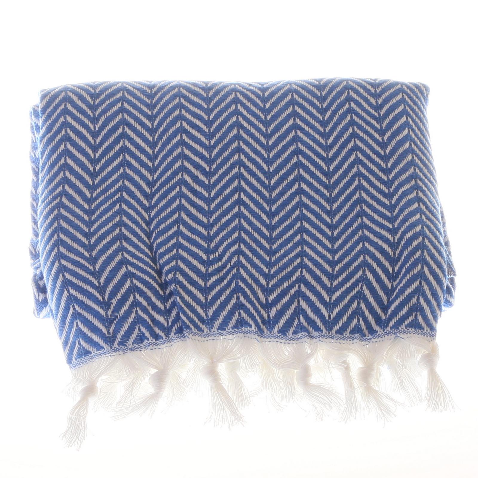 Big zigzag pattern cotton hammam towel - Blue