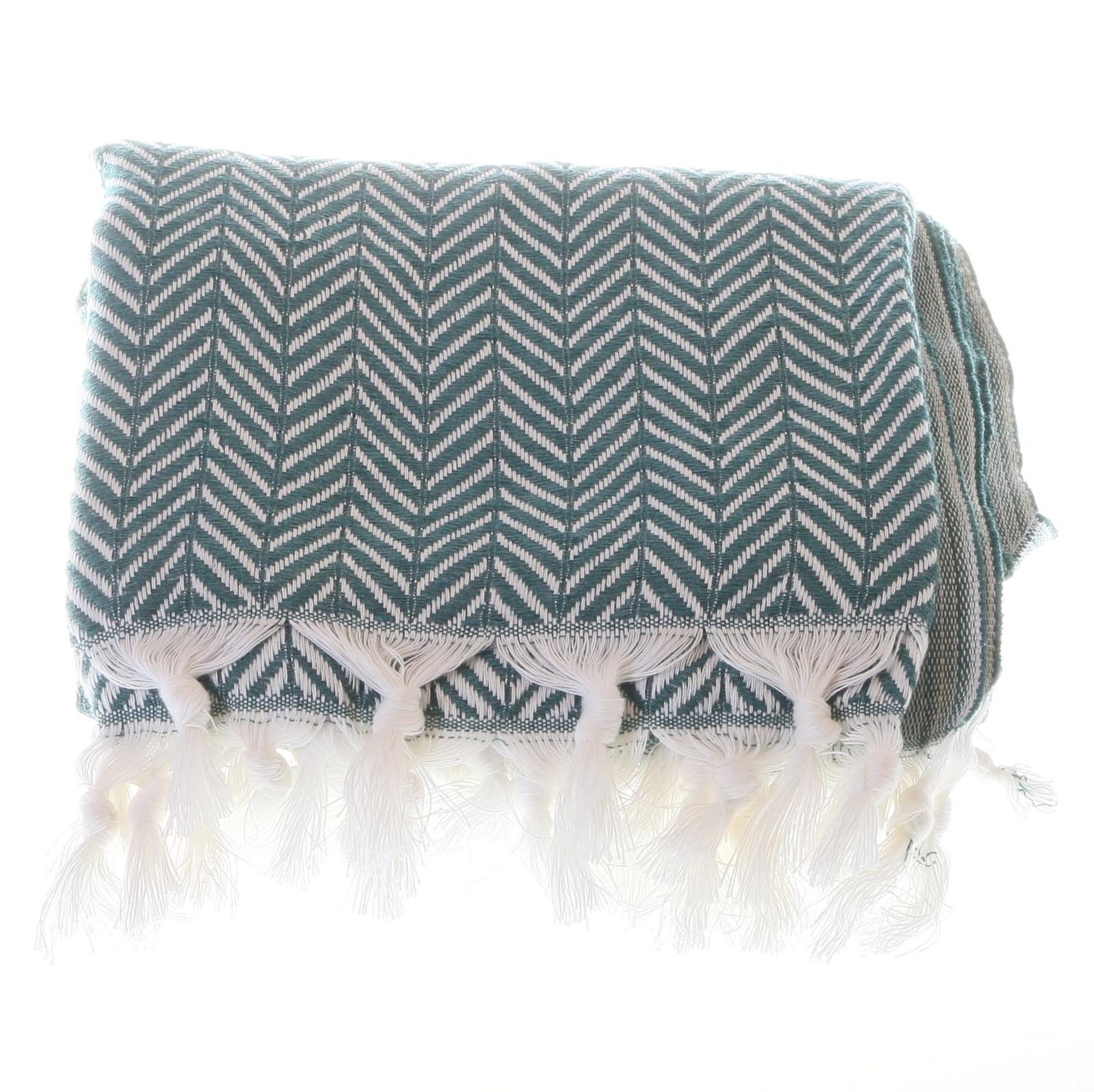 Big zigzag pattern cotton hammam towel - Green