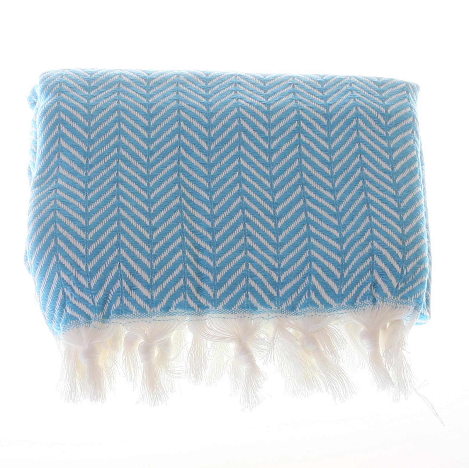 Big zigzag pattern cotton hammam towel - Light Blue