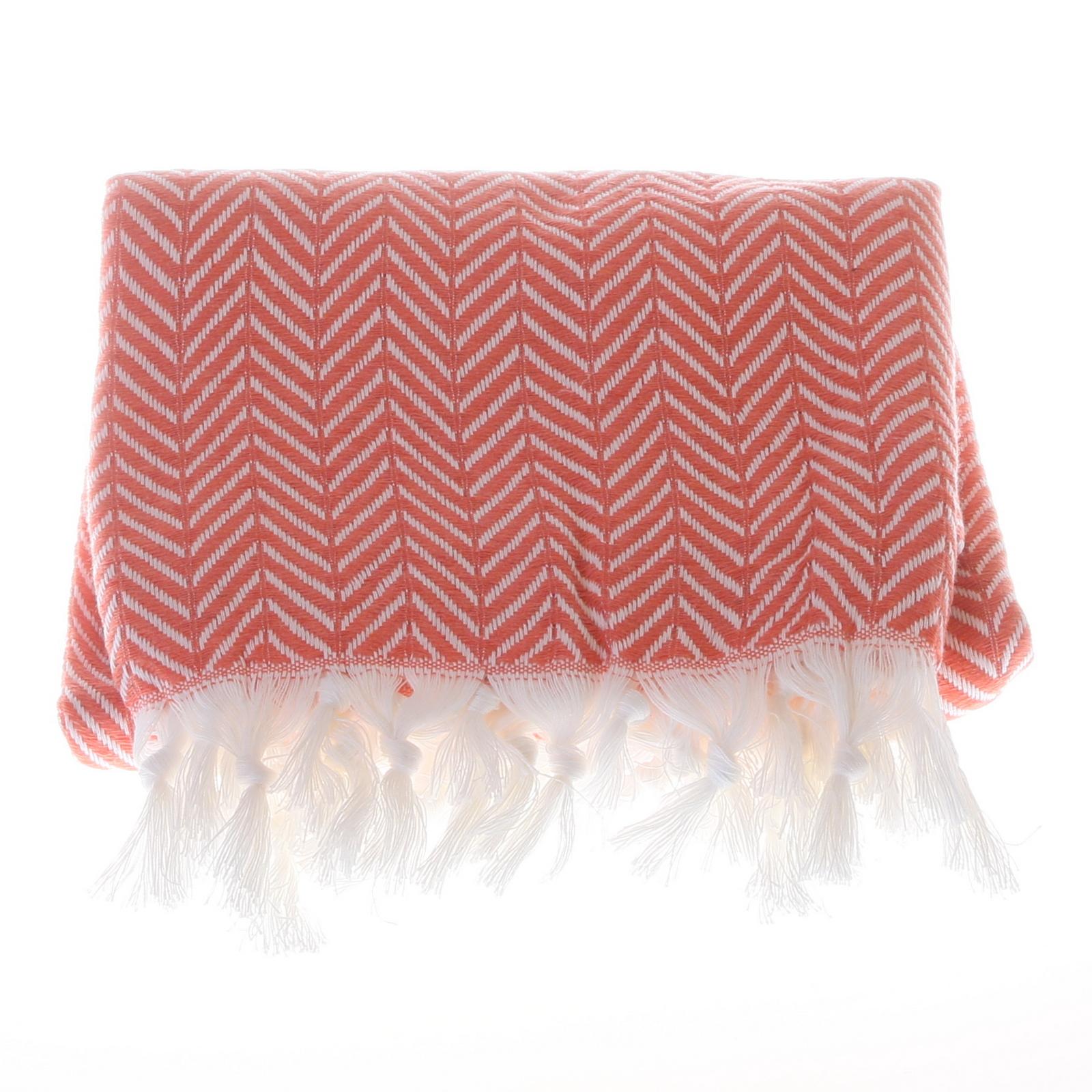 Big zigzag pattern cotton hammam towel - Orange