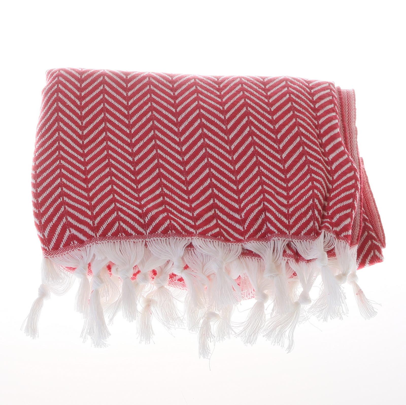 Big zigzag pattern cotton hammam towel - Red
