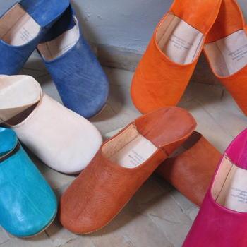 Damen-Babouche – orientalische Leder-Hausschuhe aus Marakesch - faire Handarbeit