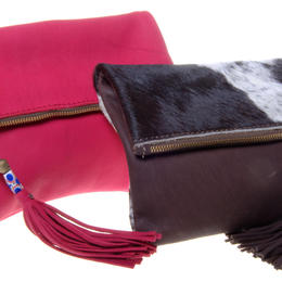 Fold Over Clutch in Chocolate and Red - Jackal and Hide - Zambia