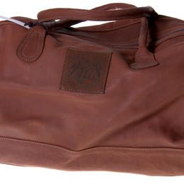 toffee colour leather travel bag from Zambia handmade with love and fairness