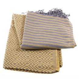 hammam towel killim style yellow and grey