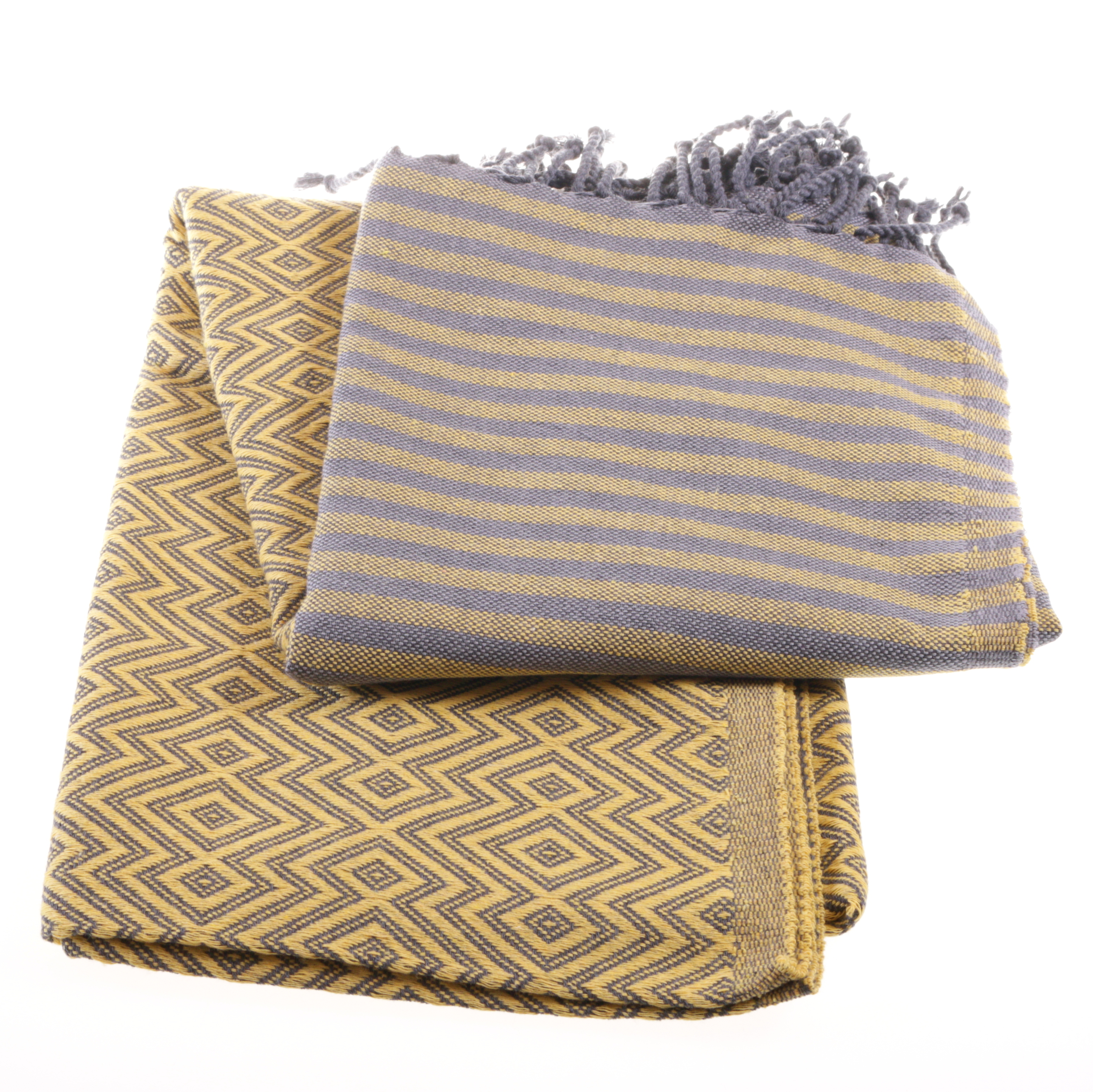 hammam towel killim style yellow and grey